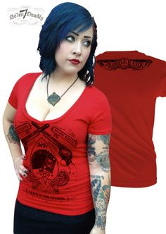 Blood on your Hands V-neck Tee by se7enDeadly on Etsy
