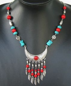 Tibet style Tibetan silver charming turquoise coral pendant necklace
