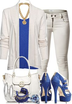 """Untitled #1893"" by jornell ❤ liked on Polyvore royal blue and white - can't beat the look"