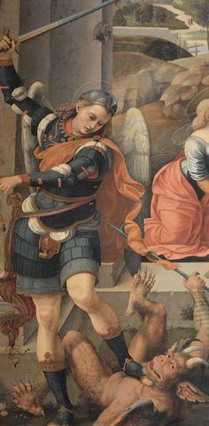 """Timoteo Viti (1469-1523), San Michele Arcangelo, dettaglio della Pala d'Altare """"Noli me tangere"""", Chiesa di Sant'Angelo Minore a Cagli (Pesaro-Urbino) (Regione Marche, Italy)"""