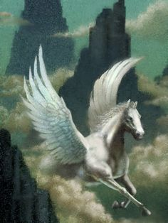 Pegasus Flying Through Clouds Stretched Canvas Print