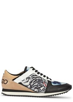 KENZO black leather trainers