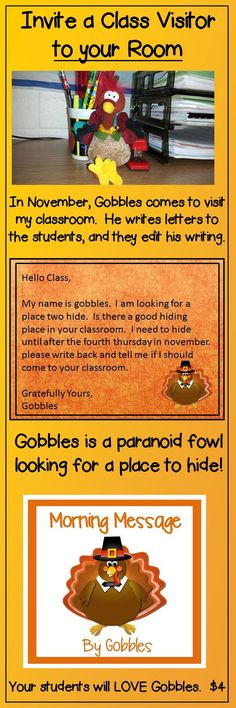 This is a cute idea for the month of November. Fun for kiddos to edit Gobble's writing. Could include math too!
