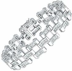 Men's Sterling Silver Bracelet with Fancy Azure Blue and Elegant White Baguette Cubic Zirconia (CZ) Stones, Box Lock, Platinum Plated. or By Sterling Manufacturers Bracelets For Men, Silver Bracelets, Cz Stones, Bracelet Designs, Baguette, Plating, White Gold, Fancy, Sterling Silver