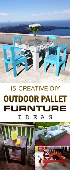 15 creative DIY ideas for creating outdoor furniture from pallets.