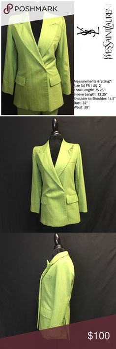 """YSL Pinstripe Green & White Blazer Yves Saint Laurent-Rive gauche Pinstripe Blazer  Made in France   Very Stylish in good condition, green color, with white Pinstripes simply elegant, single breasted, long sleeve Blazer.  Size 34  Fabric: 87% polyester 13% Viscose- Rayon    Jacket Size 34  Measurements & Sizing*: * Total Length: 25.25"""" * Sleeve Length: 22.25"""" * Shoulder to Shoulder: 14.5"""" * Bust: 32""""  *            Waist: 28"""" Yves Saint Laurent Jackets & Coats Blazers"""