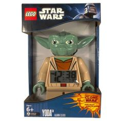 Alarm - LEGO Kids' 9003080 Star Wars Yoda Minifigure Clock by LEGO. $47.82. LEGO Kids' 9003080 Star Wars Yoda Minifigure ClockThe LEGO Star Wars Yoda Minifigure Alarm Clock has been made to scale of a genuine LEGO Yoda minifigure. Yoda has moveable arms. The digital display lights up in red when you push down on the head, whether to make the alarm snooze for 5 minutes or just to check the time that gives you a 12 hour/24 hour option. The Yoda Minifigure Alarm Clock has bec...