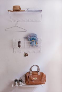 Mitten Shelf is a Scandinavian designed metal shelf from Maze Interior. The shelf fits in the hallway, bedroom, bathroom or kitchen. Design by Olof Kolte. Metal Shelves, Storage Shelves, Shelf, Swedish Design, Scandinavian Design, Hallway Decorating, Entryway Decor, Cartwheel, Entrance Hall