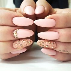 Pretty nail design ideas! Light baby pink, matte pink nail art