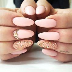 Pretty nail design ideas! Light baby pink, matte pink nail art