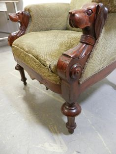 1890 S Hand Carved Dog Head Arm Chair Vintage Pets