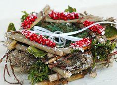 Preston Bailey, Preston Bailey Bride Ideas, Etsy, Winter Berry Ring Bearer Nest, Ring Bearer Ring Holder, Nest, Ring Nest