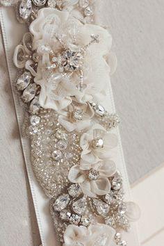 Bridal sash made of pearls, mounted Swarovski crystals, and silk thread