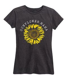 Instant Message Womens Heather Charcoal Sunflower Mama Relaxed-Fit Tee - Women & Plus | Zulily