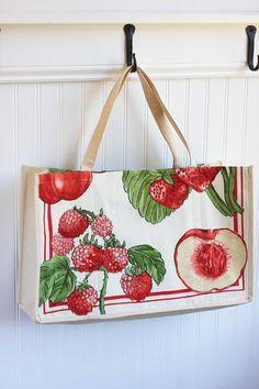Summer Fruits Farmers Market Bag Large Tote Bag Strawberry