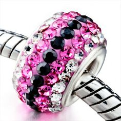 Pugster Pink & Black Crystal Shine European Beads Fits Pandora Charms Bracelet Pugster. $18.49. Fit Pandora, Biagi, and Chamilia Charm Bead Bracelets. Unthreaded European story bracelet design. Made of Bling Crystal. Hole size is approximately 4.8 to 5mm. Pugster are adding new designs all the time