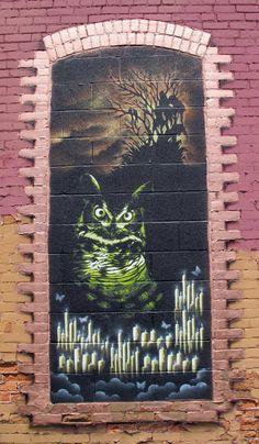 My Owl Barn: 10 Awesome Owl Artwork by Street Artists Graffiti Murals, Murals Street Art, 3d Street Art, Street Art Graffiti, Mural Art, Street Artists, Caricatures, Owl Artwork, Street Art Photography