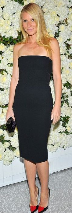 Gwyneth Paltrow: Dress – Victoria Beckham Collection  Purse – Edie Parker  Shoes – Christian Louboutin