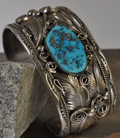 Wide Cuff Bracelet with Morenci Turquoise.