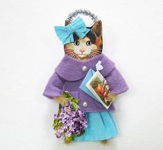 Vintage Style Easter Ornament CALICO CAT with Easter by HolidayCat, $19.00