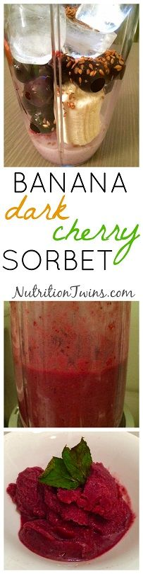 Banana Cherry Sorbet   Only 90 Calories   Pure, Refreshing Way To Satisfy Sweet Tooth Craving  For MORE RECIPES, Fitness & Nutrition Tips please SIGN UP for our FREE NEWSLETTER www.NutritionTwins.com