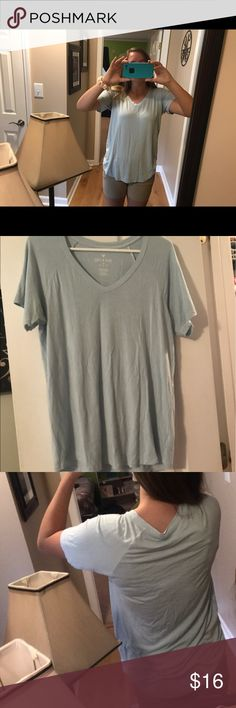 American eagle shirt Great condition. Light blue/ grey color. Very soft. Wrinkled from being folded up. American Eagle Outfitters Tops Blouses