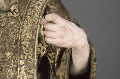 "Front left hand, post-conservation / Saint Ginés de la Jara; Luisa Roldán (called ""La Roldana"") (Spanish, 1652 - 1706), Polychromer: Tomás de Los Arcos (Spanish, born 1661); Spain; about 1692; Polychromed wood (pine and cedar) with glass eyes; 175.9 x 91.9 x 74 cm (69 1/4 x 36 3/16 x 29 1/8 in.); 85.SD.161"