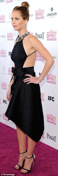 Jennifer Lawrence raised the 'wow' factor to new heights when she took to the red-carpet at the 2013 Film Independent Spirit Awards on Saturday in a stunning halterneck gown