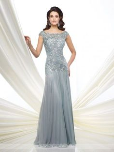 Mon Cheri Montage 216962 Two-tone chiffon and metallic lace fit and flare gown with slight cap sleeves, illusion lace bateau neckline over sweetheart bodice with dropped waistline, keyhole back, gathered skirt with sweep train. - Mother of the Bride Dress