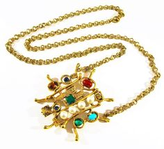 VINTAGE SIGNED ART MULTI COLOR STONES GOLD MOTERNIST BRUTALIST PENDANT NECKLACE #ART #Pendant