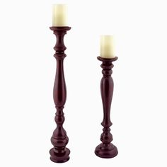 Hartford Tall Floor Standing Wood Candle Holders with Flameless Pillars