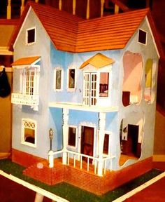 """Popsicle Stick Doll House   My dad is a woodcarver and he worked most of a year on my """"tiny ..."""