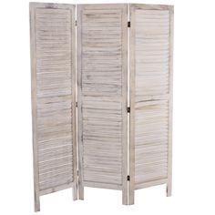 Serie vintage paravento 3 pannelli legno paulonia 2x138x170cm ~ bianco