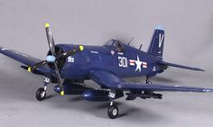 Blue Giant F4U Corsair V2 RC Warbird Airplane - Radio Controlled Giant F4U Corsair V2 Military Plane - RC
