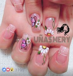 Mis uñas Butterfly Nail Designs, Butterfly Nail Art, Colorful Nail Designs, Toe Nail Designs, Beautiful Nail Designs, Sexy Nail Art, Cute Nail Art, Bridal Nails, Wedding Nails