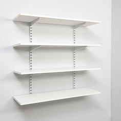 White Wall Mounted Display Shelves Decoration For Shoe Store - Boutique Store Fixtures Manufacuring, Retail Shop Fitting Display Furniture Supply Garage Wall Mounted Shelving, Wire Closet Shelving, Wall Mounted Storage Shelves, Wall Mounted Bookshelves, Garage Storage Shelves, Metal Shelves, Display Shelves, Wall Shelves, Shelving Decor