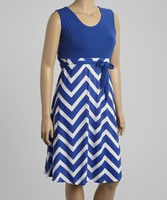 Take a look at the Royal Blue & White Zigzag Sleeveless Dress - Plus on #zulily today!cut