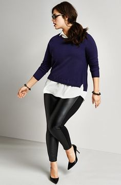 Love the faux-leather pants. DKNYC Layered Illusion Sweater (Plus Size)