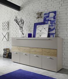 Sideboard Beige Matt/ Eiche Natur Woody 12 00977 Melamin Modern Jetzt  Bestellen Unter: