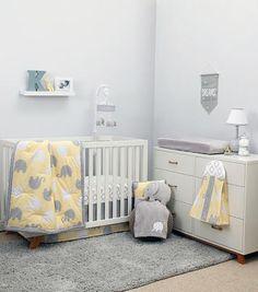 NoJo The Dreamer Collection Elephant Yellow/Grey 8 Piece Crib Bedding Set