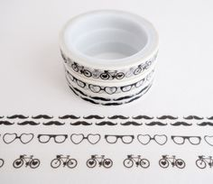 Set of 3 rolls of mini washi masking tapes with retro patterns of mustaches, glasses, and bicycles. Great for travel journals, scrapbooking, gift wrapping, decorating cards and envelopes and more! Add