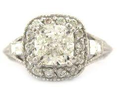 Antique Cushion Cut Engagement Rings | Cushion cut diamond engagement ring antique style 14k white gold 2 ...