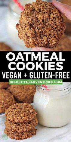 Easy vegan gluten-free vegan oatmeal cookies you can have ready in under 30-minutes! They're soft, chewy, delicious and very simple to make. These vegan snacks are the best because they call for only a few ingredients and are dairy-free (no butter), egg-free, and, of course, gf. Easy Vegan Cookies, Vegan Oatmeal Cookies, Vegan Gluten Free Cookies, Vegan Treats, Vegan Desserts, Vegan Snacks On The Go, Gluten Free Recipes For Breakfast, Snack Recipes, Vegan Recipes Beginner