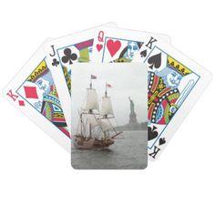 VINTAGE SAILING SHIP NEAR LIBERTY ISLAND BICYCLE PLAYING CARDS - custom diy cyo personalize gift idea