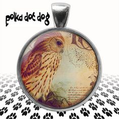 Victorian Owl -- Whimsical Owl Large Glass-Covered Pendant