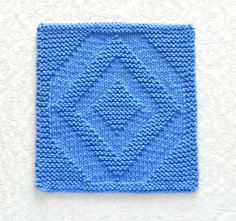 (6) Name: 'Knitting : Diamond Quilt Block Knitted Dishcloth