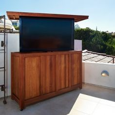 Scenic Roof Deck Even Better With A Pop Up Tv Outdoor Stand