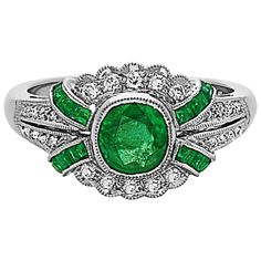 Emerald Diamond Art Deco Style Ring