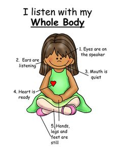 Body Listener Poster This is a whole body listener poster that I made for my own preschool classroom.This is a whole body listener poster that I made for my own preschool classroom. Classroom Behavior, Kindergarten Classroom, Future Classroom, Preschool Classroom Themes, Eyfs Classroom, Preschool Teachers, Classroom Posters, Social Emotional Learning, Social Skills