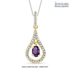0.4-0.6ctw Genuine Gemstone & Diamond Accent Tender Teardrop Pendant in Sterling Silver - Assorted Colors at 90% Savings off Retail!